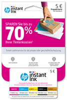 Aktion HP Instant Ink Registrierungskarte