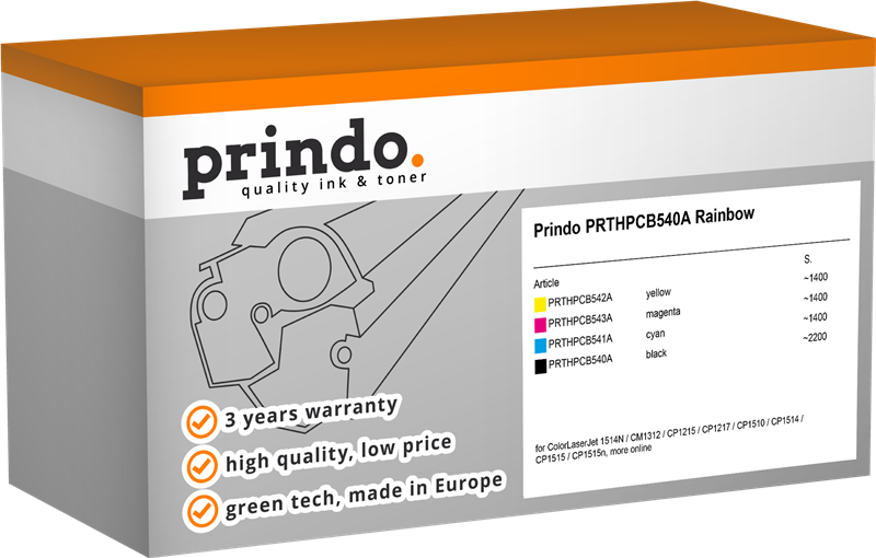 Value Pack Prindo PRTHPCB540A Rainbow