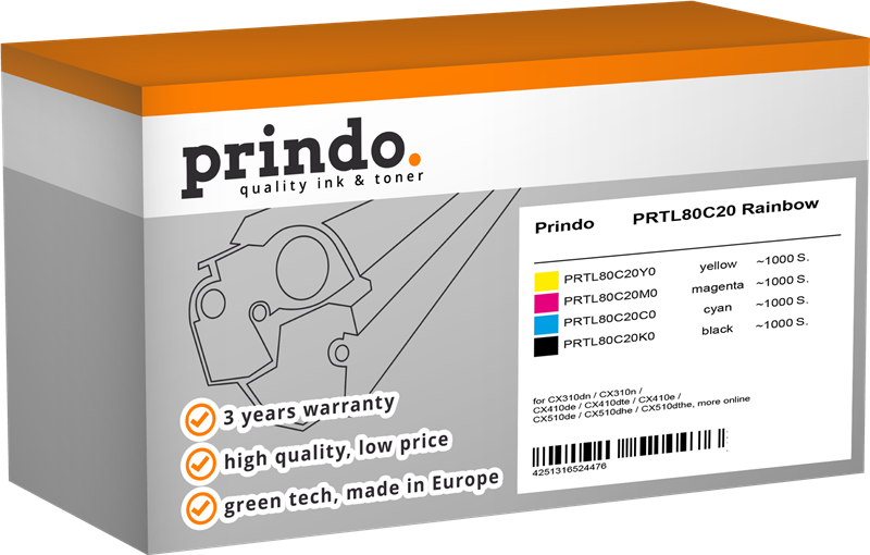 Value Pack Prindo PRTL80C20 Rainbow