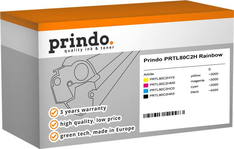 Value Pack Prindo PRTL80C2H Rainbow